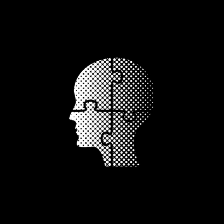 People head with puzzles elements - white vector icon;  halftone illustration