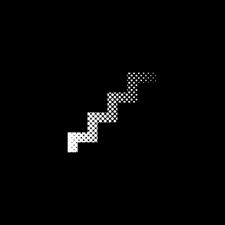 stairs - white vector icon ; halftone illustration