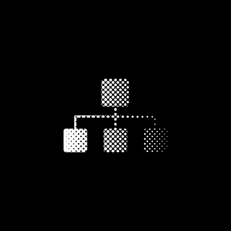 Network - white vector icon; halftone illustration