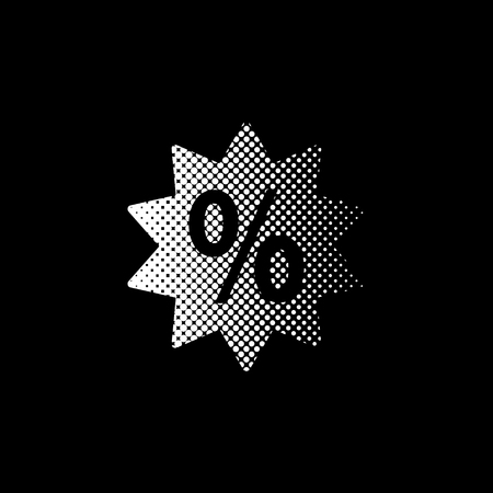 percent - white vector icon ; halftone illustration Banque d'images - 125318572