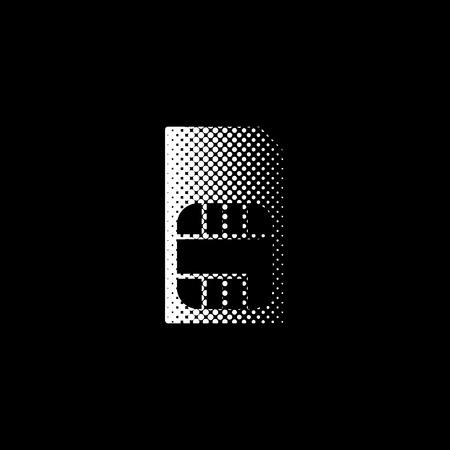 Sim card - white vector icon;  halftone illustration