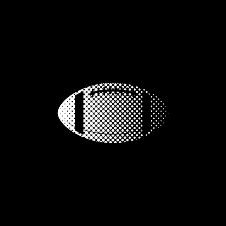 American football ball - white vector icon;  halftone illustration