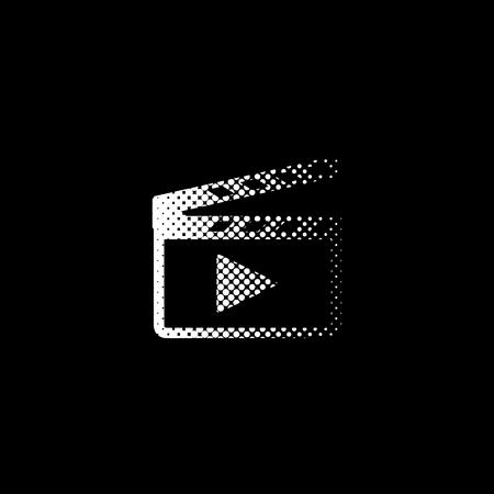 Movie clap - white vector icon ; halftone illustration
