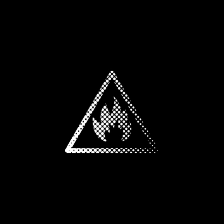 Fire danger sign - white vector icon;  halftone illustration