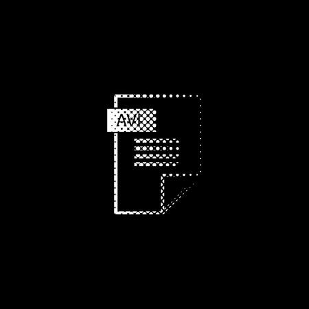 avi icon - white vector icon ; halftone illustration