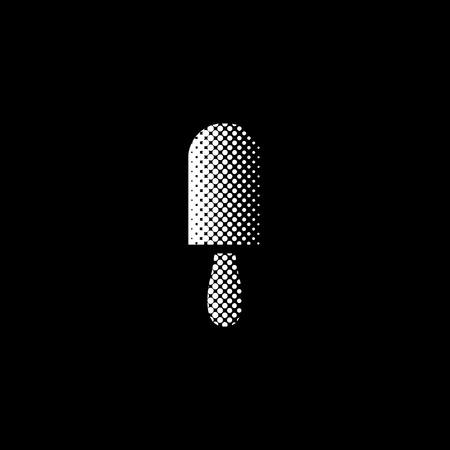 ice cream - white vector icon ; halftone illustration