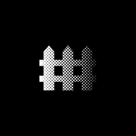 Fence - white vector icon  halftone illustration
