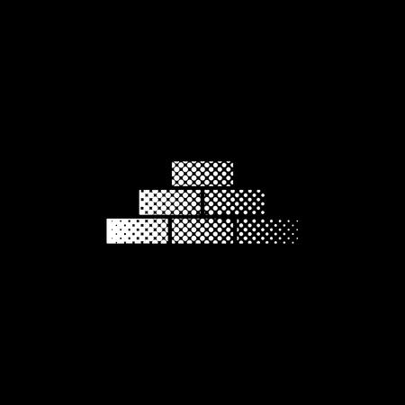 brick - white vector icon ; halftone illustration