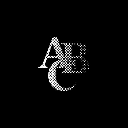 symbols heap of alphabet - white vector icon;  halftone illustration  イラスト・ベクター素材