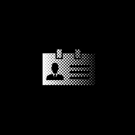 Identification card - white vector icon ; halftone illustration