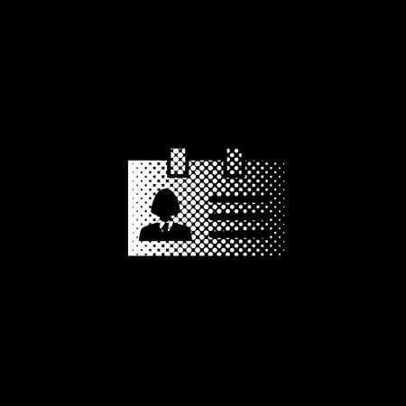 Identification card - white vector icon;  halftone illustration