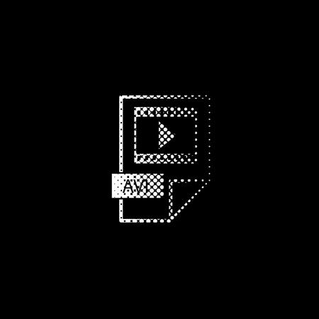 avi icon - white vector icon ; halftone illustration Illustration