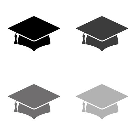 Graduation cap - black vector icon