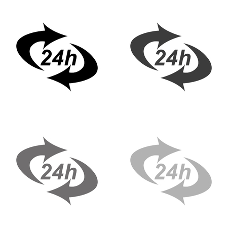 24 hours - black vector icon
