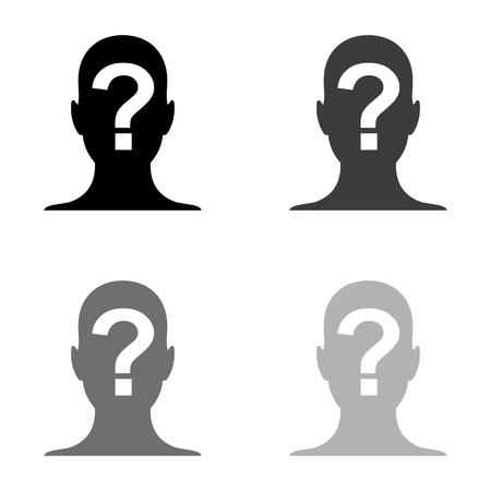 Male profile silhouette with question mark - black vector icon