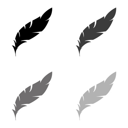 Feather - black vector icon