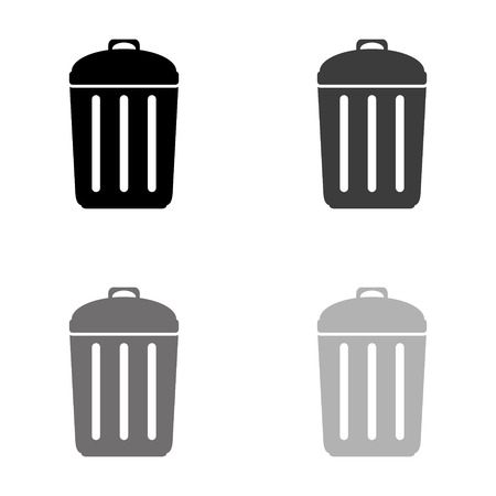 Trash bin - black vector icon