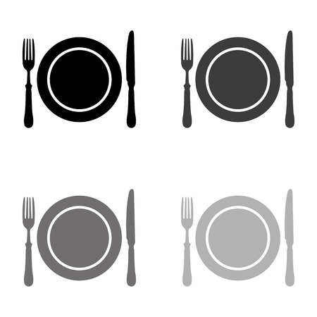 Dish; fork and knife - black vector icon Çizim