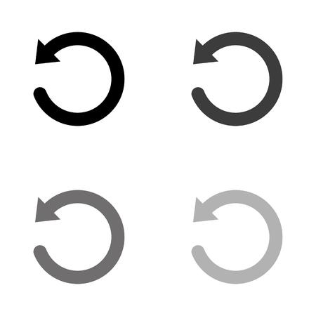 undo symbol - black vector icon