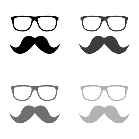 Nerd glasses and mustaches icon