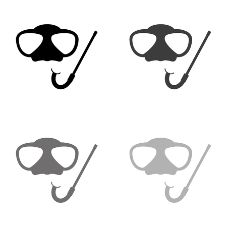 Mask and snorkel - black vector icon