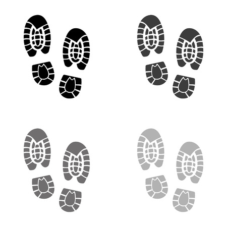 Shoe print - black vector icon