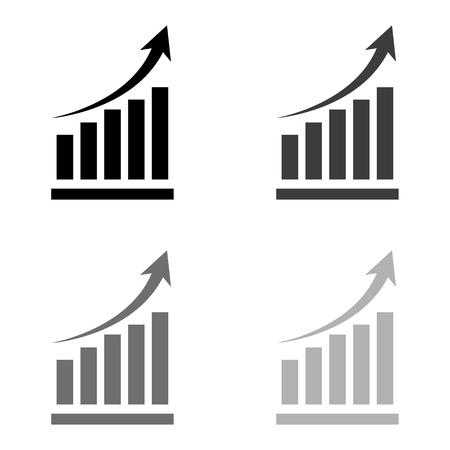 growing graph - black vector icon Ilustração