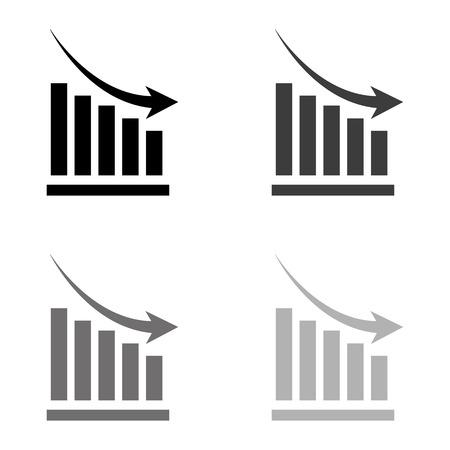growing graph - black vector icon Illustration