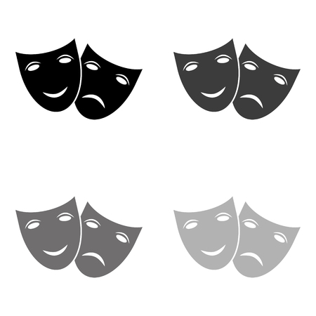 Theater icon with happy and sad masks - black vector icon Stock Illustratie