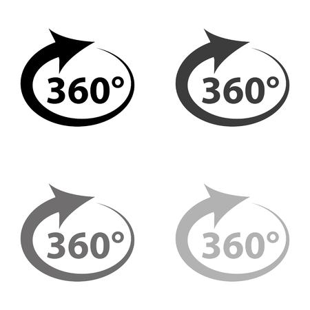 360 degree - black vector icon