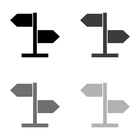 direction sign - black vector icon