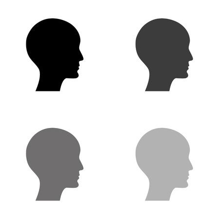 immagine del profilo umano - icona vettoriale nera Vettoriali