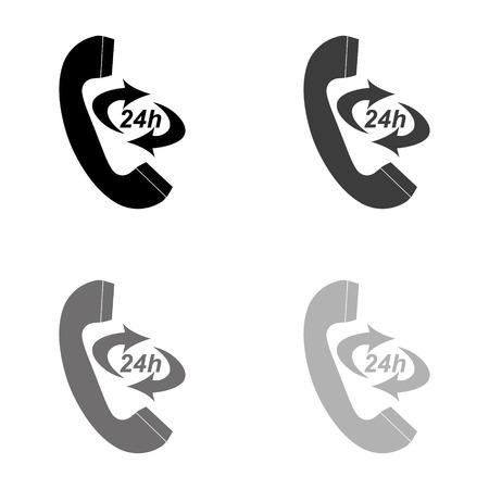 Icon 24 Hour Call Center - black vector icon Standard-Bild - 124780069