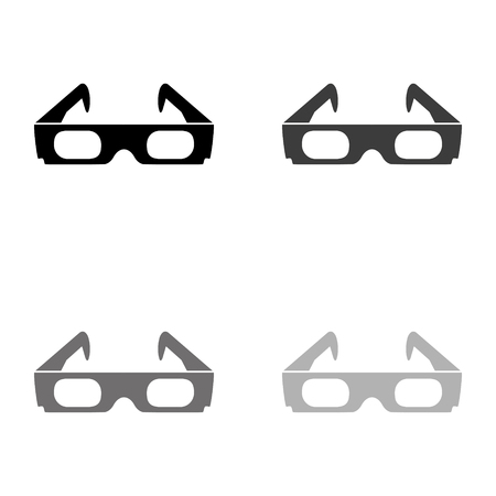 3d glasses - black vector icon