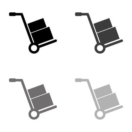 Hand truck - black vector icon