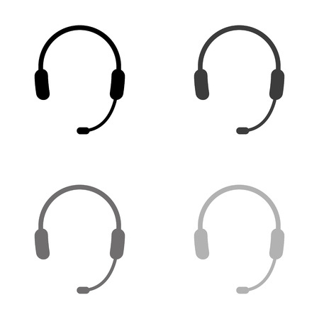 Headphone for support or service - black vector icon