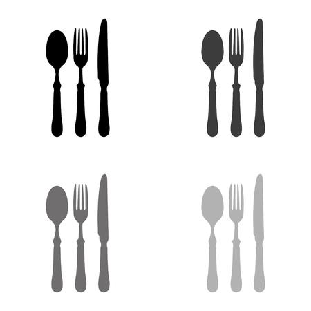 fork spoon knife - black vector icon
