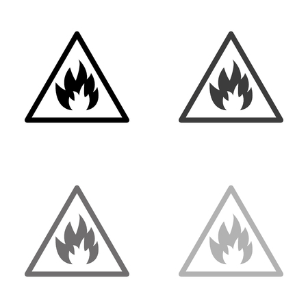 Fire danger sign - black vector icon Banque d'images - 124780160
