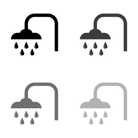 Shower - black vector icon