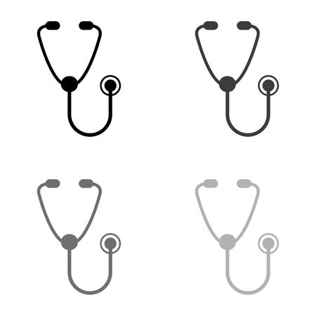 stethoscope - black vector icon