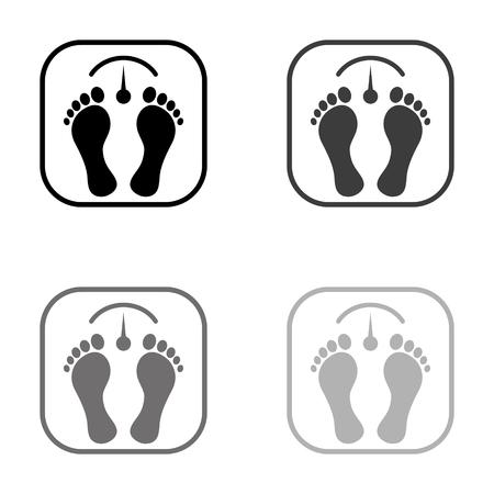 bathroom scale with footprints - black vector icon Ilustração