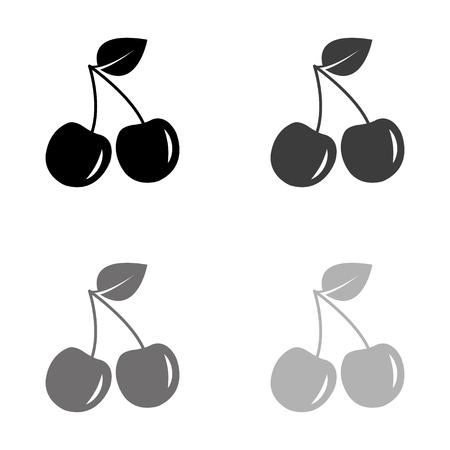 Cherry - black vector icon