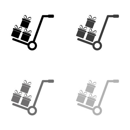 Gift box - black vector icon
