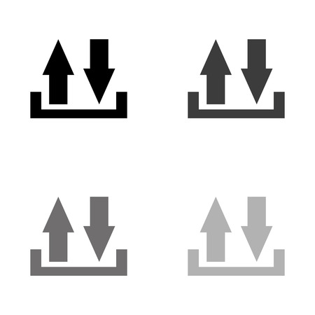 download and upload - black vector icon