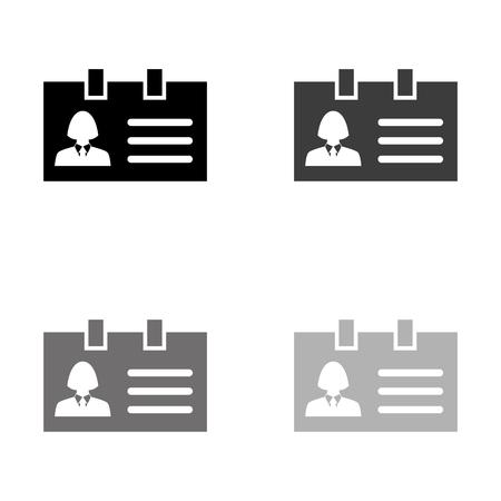 Identification card - black vector icon