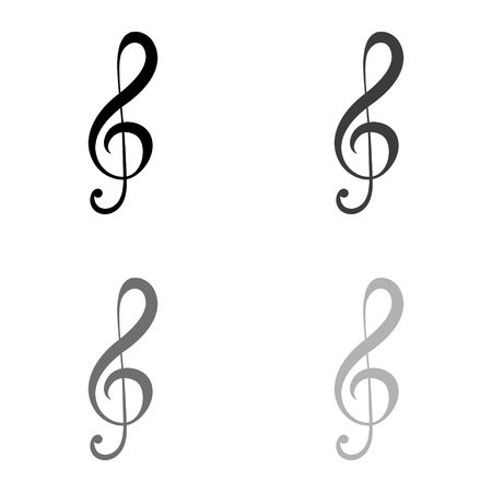 treble clef - black vector icon