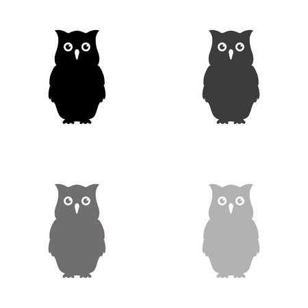 Owl - black vector icon