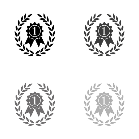 Medal with wreath - black vector icon