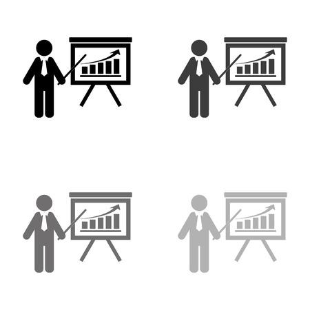 board with growing graph - black vector icon Ilustração