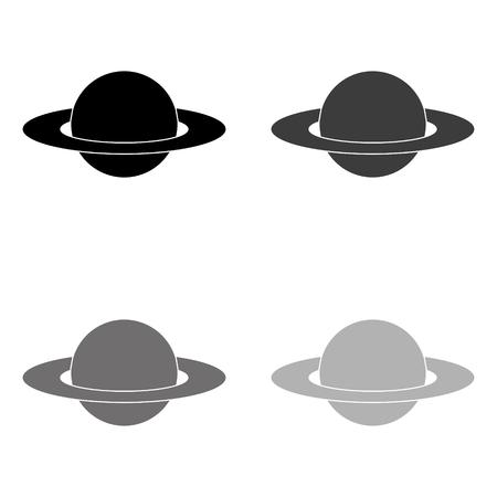 planet - black vector icon